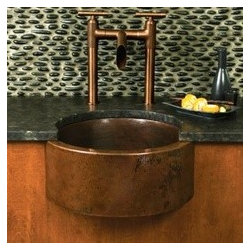 KCK Kitchen Sinks - Fiesta In Antique - Fiesta In Antique - A grand addition to your bar and prep area, the Fiesta sink is a great choice for any kitchen or bar. The unique design of the curved apron front puts a glamorous spotlight on the hand hammered copper.