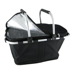 Zeckos - Black Canvas Insulated Market Basket Cooler - This awesome black canvas market tote has an insulating liner throughout the interior, so it can double as a cooler. It`s great for shopping, picnics, trips to the beach & much more  Measuring 9 inches tall, 18 inches long and 11 inches wide, the aluminum frame holds the tote in shape, but, with a couple of tugs on the Velcro straps, the tote collapses down to only 2 inches high. Unlike most market totes, this one has a zippered top, also insulated, so it will keep your refrigerated or frozen groceries cold. The bottom of the tote has plastic feet and the twin swingable handles have rubberized handles. Make you next shopping trip a stylish one with this beautiful market tote. They also make great gifts, so stock up now