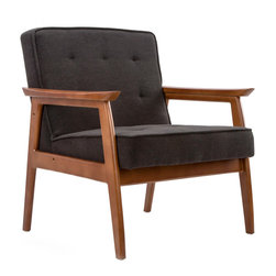 Mid-Century Walnut Lounge Chair in Charcoal - Luxurious button tufting and dark walnut wood take you back to a time long past. The Mid-Century Walnut Lounge Chair is sure to be a stand-out in your living room.