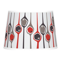 "Ragnar - Contemporary Shutter Tapered Lamp Shade 10x12x8 (Spider) - Add a fresh design feature to your home with this custom-print tapered lamp shade featuring an exclusive pattern designed by retro modern pop artist and illustrator Ragnar. Its design is completed with a state-of-the-art giclee print technique and high-quality canvas. This printing technique allows for the faithful reproduction of color and detail. The correct size harp and finial is included free with this shade. This item is custom made-to-order. U.S. Patent # 7347593. Giclee print canvas shade. Ragnar Shutter pattern. Chrome finish spider fitting. 10"" across the top. 12"" across the bottom. 8"" high.  Giclee print canvas shade.  Ragnar Shutter pattern.  Chrome finish spider fitting.  10"" across the top.  12"" across the bottom.  8"" high."