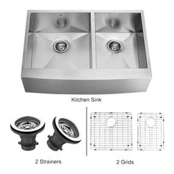Vigo - VIGO VG3620BLK1 Sink, 2 Grids, 2 Strainers - Fully undercoated and padded with unique multi layer sound eliminating technology, which also prevents condensation