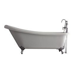 """Baths of Distinction - Hotel Collection Single Slipper Clawfoot Bathtub/Faucet Package, 67"""" Length - Package consists of an absolutely breathtaking 67"""" single slipper clawfoot bathtub along with hardware including faucet with handheld shower, drain with lift off stopper, straight supply lines and claw feet all in chrome. Bathtub is made of CoreAcryl acrylic with a resin/powdered stone filler. Bathtub has a built in aluminum heat barrier within the tub body."""