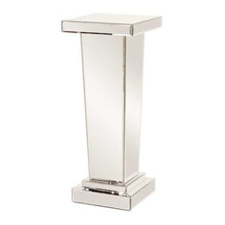 Howard Elliott Carina Tapered Mirrored Pedestal - This tall all-mirrored pedestal tapers in toward the bottom adding both style and function.