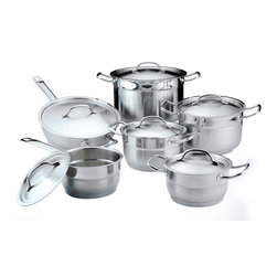 "Berghoff - Berghoff Hotel Line Cookware Set 12 pc. - Set includes: (6 1/4"") covered saucepan- 1.7 Qt, (6 1/4"") covered casserole- 1.7 Qt, (7"") covered casserole- 2.6 Qt, (8"") covered casserole- 3.8 Qt, (10"") covered stockpot- 6.8 Qt, (10"") covered deep skillet- 2.6 Qt.  Durable 18/10 stainless steel with 1 mm of wall thickness and polished outside finish.  Practical pouring rim for easy draining.  4-layer capsule base for a lifetime of cooking perfection. Stainless steel handles with a firm and safe grip with stainless steel cover.  Suitable for all heat sources, including induction."