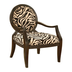 Asia Direct Home - Accent Chair With Zebra Print - The classic frame accentuates the Zebra stripe fabric to give this chair a unique look and feel. The fully padded back rest provides extra comfort. This arm chair is sure to liven up any decor