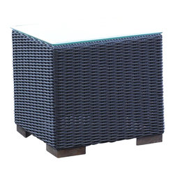 WickerParadise - Patio Wicker Outdoor End Table Portofino - Black Forest - Brunch on the patio? Rest your mimosa or glass of juice on this simple black-and-white wicker end table made for outdoor use.