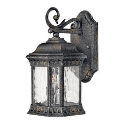 Hinkley Lighting - Hinkley Lighting 1720BG Regal Traditional Outdoor Wall Sconce - Small - Regal has a grand Old World style that features elegant decorative stamped detailing in a Black Granite finish combined with clear seedy water glass for added sophistication