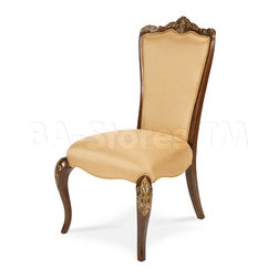Imperial Court Fabric Back Side Chair - About this Collection: Russian palaces and the romance of destinations like Versailles are the inspiration for this magnificent collection crafted with rosewood veneers and dressed in a Radiant Chestnut finish. Sensuous curves, impressive marquetry, and intricate hand carved pieces blend together to create feeling of romance and regality in your home.