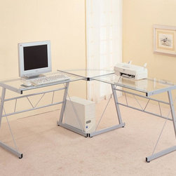 Coaster - Silver Contemporary Work Station - Silver finished metal computer workstation with a frosted glass desk top, corner wedge and shelf. Matching mobile printer station also available.