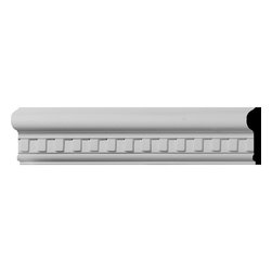 """Ekena Millwork - 2 1/2""""H x 1 1/8""""P x 94 1/2""""L Swindon Dentil Chair Rail - Beautiful crown moulding is a great way to separate and define each room. With each design modeled after traditional plaster type mouldings, our lightweight polyurethane mouldings give the same rich detail, yet at a fraction of the cost. Most moulding profiles can be partnered with our do-it-yourself corner blocks that means no miter cutting for you, and most rooms can be completed in ours instead of days. Another benefit of polyurethane is it will not rot or crack, and is impervious to insect manifestations. It comes to you factory primed and ready for your paint, faux finish, gel stain, marbleizing and more."""
