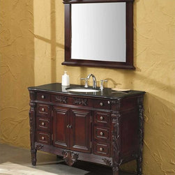 """Fresca - Fresca Brampton 48"""" Antique Single Sink Bathroom Vanity - The Fresca Brampton bathroom vanity has a majestic presence. The solid aspen wood frame's dramatic cherry finish and antique brass hardware are the epitome of antique elegance. At a width of 48"""" and a height of 36"""", this bathroom vanity is large enough to have ample features, yet small enough to fit unobtrusively in most midsized washrooms."""