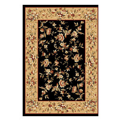 KAS - Cambridge 7336 Black/Beige Rug by Kas - 5 ft 3 in x 7 ft 7 in - The Cambridge Collection from Kas offers great traditional themed patterns at very affordable price points. Machine made of 100% Polypropylene, these rugs are offered in a variety of sizes. The use of different color tones creates a superb look and feel and is a great value that shouldn't be overlooked!