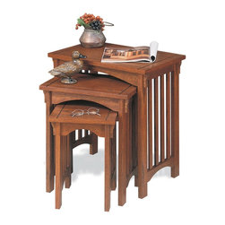 "Powell - Powell Mission Oak 3 Nested Tables X-953 - Convenient set of tables is great to use beside a sofa or chair. Use as a set or separately as individual accent tables. Warm ""Mission Oak"" finish will complement any decor.  Minor assembly required."