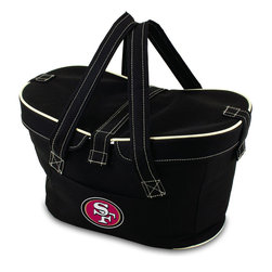 Picnic Time - San Francisco 49ers Mercado Picnic Basket in Black - This Mercado Basket combines the fun and romance of a basket with the practicality of a lightweight canvas tote. It's made of polyester with water-resistant PEVA liner and has a fully removable lid for more versatility. Take it to the farmers market, the beach, or use it in the car for long trips. Carry food or sundries to and from home, or pack a lunch for you and your friends or family to share when you reach your destination. The Mercado is the perfect all-around soft-sided, insulated basket cooler to use when you want to transport a lunch or food items and look fashionable doing it.; Decoration: Digital Print; Includes: 1 removable canvas lid