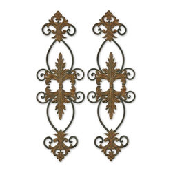 Uttermost - Uttermost Lacole Rustic Metal Wall Art, Set of 2 13387 - This metal wall art is made of hand forged metal and is finished with a combination of distressed rust brown and aged black.