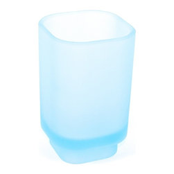 Gedy - Free Standing Sky Blue Frosted Glass Tumbler, Satin Sky Blue - Part of the Gedy Joy collection, this free stand tumbler holder is essential. Imported from and manufactured in Italy by Gedy, a very high quality, contemporary tumbler holder that compliments modern and contemporary settings. Made in frosted glass and available in sky blue. Decorator tumbler holder, made in very high quality frosted glass.