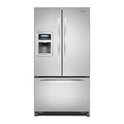 """KitchenAid - Architect Series II KFIS20XVMS 36"""" 20 cu. ft. Capacity Counter-Depth French Door - Stay organized when you stock up on groceries with this side-by-side refrigerator that features 3 SatinGlide freezer baskets and a SatinGlide deli locker that move in and out easily even when full and 4 adjustable door bins to free interior shelf space"""