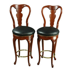 EuroLux Home - Pair Queen Anne New Bar Stools - Product Details