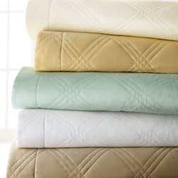 """Matouk - Matouk Windowpane King Coverlet, 112"""" x 99"""" - 300-thread-count Egyptian cotton sateen coverlets and shams are available in your choice of colors; select color when ordering. USA made of Italian fabric. Machine wash."""