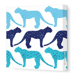 Avalisa - Animal - Cheetah Stretched Wall Art, 12cm x 12, Blue Hue - Who said cheetahs never win? This winning wall hanging comes in your choice of color combinations and sizes so you can hang it easily with pride. Snap this one up. Cheetahs move pretty fast.