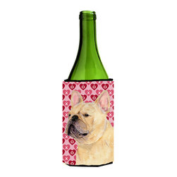 Caroline's Treasures - French Bulldog Hearts Love Valentine's Day Portrait Wine Bottle Koozie Hugger - French Bulldog Hearts Love and Valentine's Day Portrait Wine Bottle Koozie Hugger SS4485LITERK Fits 750 ml. wine or other beverage bottles. Fits 24 oz. cans or pint bottles. Great collapsible koozie for large cans of beer, Energy Drinks or large Iced Tea beverages. Great to keep track of your beverage and add a bit of flair to a gathering. Wash the hugger in your washing machine. Design will not come off.