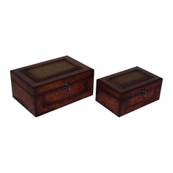 Cheung's - Home Set Of 2 Flat Top Wooden Keepsake Box With Woven Inlay And Latch Hook - Nested for Space Saving. Metal Hook Latch. Inside Lining. Woven Inlay