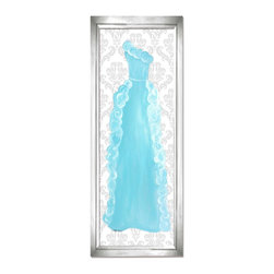 "Doodlefish - Aquamarine Dress in Silver Frame - Our beautiful Aquamarine Dress artwork is a mounted piece of artwork in a choice of frame colors.  The beautiful blue ruffled gown is also available as a stretched canvas that features a modern pink striped background.    The artwork is 12"" x 36 as a stretched canvas.  With the frame, the finished size is approximately 14"" x 40""."