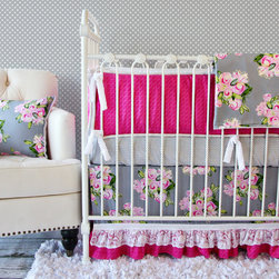 Caden Lane - Pink Vintage Floral Crib Bedding - What do you get when you combine bold pink, the look of freshly painted roses, and funky dotted crib sheet with a hint of lace? Caden Lane's Vintage Floral Baby Bedding, of course! Get all of the latest nursery trends - gray, floral prints, and lace - in one fabulous set.