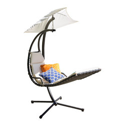 Great Deal Furniture - Avera Steel Hanging Lounge Chair, White - The Avera Steel Hanging Lounge Chair is a unique take on the outdoor lounge chair. The innovative design allows users to be perched in the air as if on a hammock, but are positioned as if on a chair. Lounge in comfort while being protected by the sun with an attached canopy that matches the color of the chair. This hanging chair is fun, functional and designed for optimum relaxation.