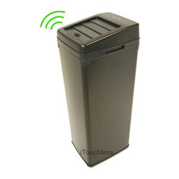 iTouchless - iTouchless SX Black Automatic Steel Trash Can - The 52-liter iTouchless trash can SX model uses the latest sensor technology. This garbage can features a patented space-saving lid opening design.