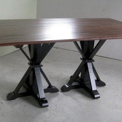 Double Pedestal Farm Table With 2 Extensions - Made by www.ecustomfinishes.com