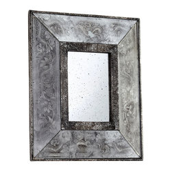 Andreas Mirror - Out of focus and designed for a faraway flavor, the mistily-indicated designs in the silvery frame of the Andreas Mirror suit an art deco interior as well as an art nouveau one, a global feel or a crafted local design. A distinct bevel increases the dimension to make the simplicity of the rectangular wall mirror's outline feel fresh, while the metallic tone suits sought-after upscale looks.