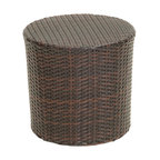 Great Deal Furniture - Overton Outdoor Wicker Barrel Side Table - The Overton outdoor wicker barrel side table is stylish and convenient for your outdoor needs. With its contemporary shape, you can place it near your seating area to place snacks and beverages, or even use it as a stand for your garden. Made of environment-friendly synthetic wicker you will find many uses for this table.