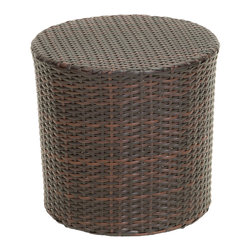 Great Deal Furniture - Overton Outdoor Wicker Barrel Side Table, Brown - The Overton outdoor wicker barrel side table is stylish and convenient for your outdoor needs. With its contemporary shape, you can place it near your seating area to place snacks and beverages, or even use it as a stand for your garden. Made of environment-friendly synthetic wicker you will find many uses for this table.