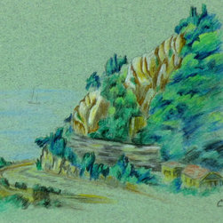 Mountain Road, C. 1980, Artwork - Pastel and colored original pencil drawing of a narrow road winding up a mountain overlooking the sea, circa 1980.