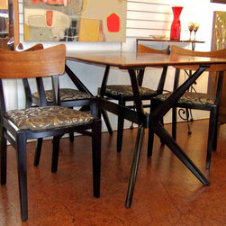 "Mid-Century Modern & Vintage Furniture - Mid-century modern, ""G-Plan"" dining table and four chairs with new upholstery ... from England! Groovy atomic style!"