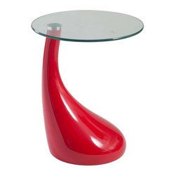 Eurostyle - Eurostyle Julia Round Side Table in Red & Clear Glass Top - Round Side Table in Red & Clear Glass Top belongs to Julia Collection by Eurostyle Play with colors and design to upgrade your home decor. This unique and fancy Julia Side Table is the piece that will definitely grab all of your guests' attention from the verry first sight. The side table features round tempered glass top and red high gloss ABS base with a drop-like shape. Table Base (1), Table Top (1)