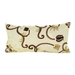 Design Accents Lotus Pillow - Beige - Bright, airy colors and a unique floral motif make the Design Accents Lotus Pillow - Beige a gorgeous decoration. High-quality cotton construction ensures lasting beauty. The hand-embroidered floral design creates a modern, stylized look for your bed, sofa, or chair. This pillow has ethnic charm destined to become a favorite accessory.