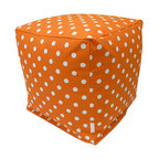 Majestic Home - Indoor Tangerine Small Polka Dot Small Cube - You're not seeing spots — you've just got an eye for cool style. This reinvented beanbag works as a footstool, side table or seat in your favorite casual setting, and the easy-care cotton twill slipcover zips off for machine washing.