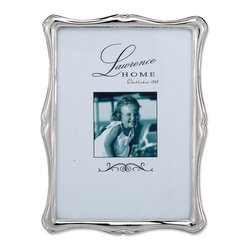 Lawrence Frames - Silver Metal Romance   5x7 Picture Frame - Gorgeous decorative silver metal classic shaped design picture frame.  This silver metal frame has a rich and lustrous silver finish.  High quality black  velvet backing with easel for vertical or horizontal tabletop display, and comes with hangers for vertical or horizontal wall mounting.    Heavy weight cast metal picture frame is made with exceptional workmanship and comes individually boxed.   In this style the 8x10 size comes with a bevel cut mat for a 5x7 photo.