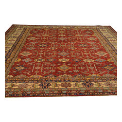 Hand Knotted Red Super Kazak Oriental Rug 9'x11' 100% Wool Tribal Design Sh18050 - Our Tribal & Geometric hand knotted rug collection, consists of classic rugs woven with geometric patterns based on traditional tribal motifs. You will find Kazak rugs and flat-woven Kilims with centuries-old classic Turkish, Persian, Caucasian and Armenian patterns. The collection also includes the antique, finely-woven Serapi Heriz, the Mamluk Afghan, and the traditional village Persian rug.