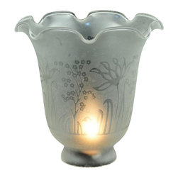 Meyda Tiffany - 5.5 in. Round Ruffle Frost Etched Replacement - Victorian Floral Country theme. 5.5 in. Dia. x 4.75 in. H