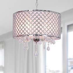 Otis Designs - Carina Chrome Finish Drum Shade Crystal Chandelier - Give your home a modern yet elegant look with this Carina chromed-finished chandelier. Accented by clear crystals,this chandelier requires five 60-watt Candelabra bulbs (not included).