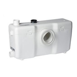 Saniflo - Saniflo 013 Sanibest Grinder Pump Only White - Pro Grinder Series Pump OnlyUnlike the rest of the Saniflo pump range which work on a macerator the Sanibest uses an actual grinder system. The Sanibest is meant for situations where what goes down the toilet is out of your control. It is ideal for rental units, offices, warehouse and public bathrooms. The Sanibest was created to deal with foreign sanitary articles that were flushed down the toilet.The sanibest allows you to install a bathroom 18 feet below the sewer line or 150 feet away from the soil stack. It can handle gray water waste from a toilet, sink, bathtub, shower and even a washing machine when connected through an indirect connection.Key features:    -Build a complete bathroom 18 feet below the sewer line or 150 feet away from a soil stack.    -Simple installation- only 4 connections to install        The grinder pump is connected to the spigot of a horizontal rear discharge toilet        The toilet tank is connected to the water supply        The grinder pump is connected to the small diameter discharge pipe work        The grinder pump is connected to the electrical supply    -10-20 second operating cycle resulting in minimal power consumption    -Sanibest automatically adjusts the input rate from other fixtures (priority to toilet water)The inside of the Sanibest is comprised of a pressure chamber, which starts and stops the unit, and the motor, which drives the stainless steel cutting blade and the pump. When the flush is activated, the water flowing into the Sanibest activates a micro switch in the pressure chamber, which in turn starts the motor. The motor is sealed for life in an oil filled enclosure. A common spindle/shaft drives the impeller and the blades. The moving parts therefore are kept to an absolute minimum. Water and organic waste matter, enter the chamber and are reduced to slurry as the blades rotate at 3600 RPM. The reduced solids are picked up at the bottom and the impeller 