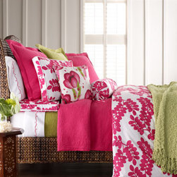 "Pine Cone Hill - ""Erika"" Bed Linens  - Spring is coming and you'll be ready with the bright, cheerful colors of ""Erika"" bed linens. Pine Cone Hill® pairs fuchsia and white leaf-print ""Erika"" linens with matelasse linens in fuchsia or key lime."