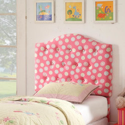 Kinfine - Juvenile Pink & White Dot Twin Tufted Headboard - Add a whimsical touch to your child's bedroom with this fun pink headboard. Designed with button tufting for added texture, this stylish headboard features multicolored swirl accents. Matching storage bench, slipper chair and ottoman also available.