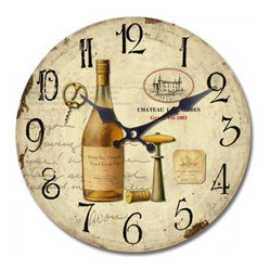 YOSEMITE HOME DECOR - 14 in. Circular Wooden Wall Clock with bottle of wine print - Part of the same family as our other wine enthusiast clock. This clock features a bottle of uncorked white wine with a vintage style bottle opener and  matching Chateau emblem on the right side just like the other clock.