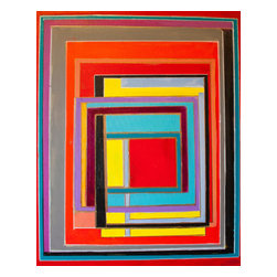 Bryan Boomershine Art - Graphic Blocks Orignial Painting - Title: 0003 Graphic Block and Line