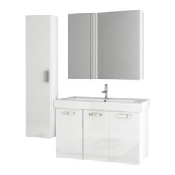 ACF - 37 Inch Glossy White Bathroom Vanity Set - This four piece vanity set was made in Italy by designer ACF.