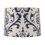 Blue Scroll Canvas Drum Shade - An affordable way to update your existing lamp base is to swap out the shade. This cotton fabric shade with a royal blue scroll pattern would give new life to a to any lamp base.
